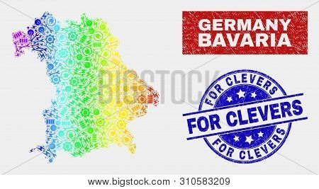 Assemble Bavaria Land Map And Blue For Clevers Grunge Stamp. Spectral Gradiented Vector Bavaria Land
