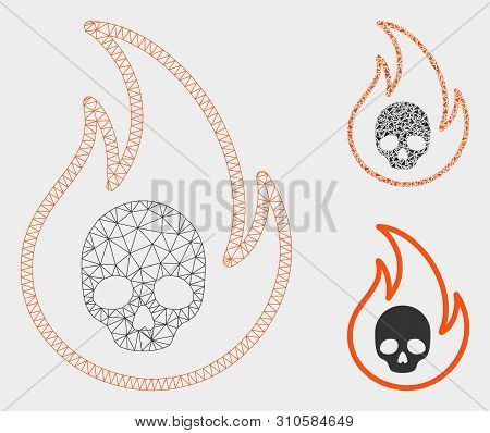 Mesh Hell Fire Model With Triangle Mosaic Icon. Wire Carcass Polygonal Network Of Hell Fire. Vector