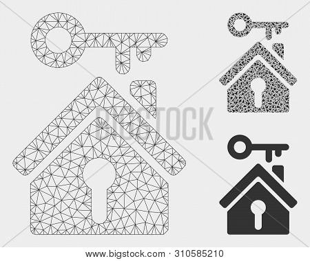 Mesh Home Key Model With Triangle Mosaic Icon. Wire Carcass Triangular Mesh Of Home Key. Vector Coll