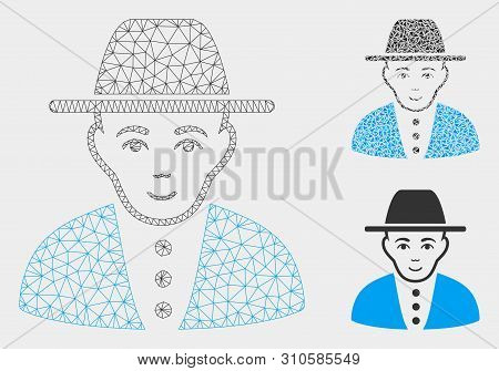 Mesh Jew Model With Triangle Mosaic Icon. Wire Carcass Polygonal Mesh Of Jew. Vector Mosaic Of Trian