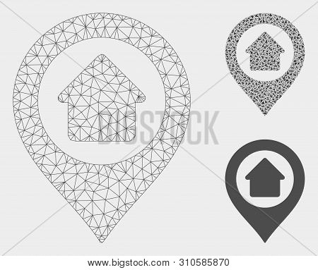 Mesh Home Marker Model With Triangle Mosaic Icon. Wire Carcass Triangular Mesh Of Home Marker. Vecto
