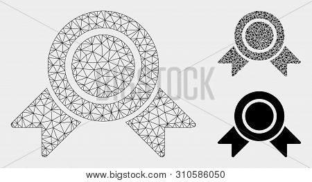 Mesh Honour Medal Model With Triangle Mosaic Icon. Wire Carcass Triangular Mesh Of Honour Medal. Vec