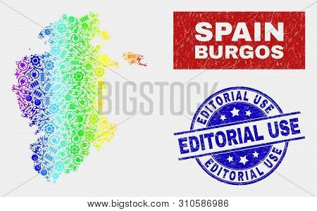 Element Burgos Province Map And Blue Editorial Use Scratched Seal Stamp. Spectral Gradiented Vector