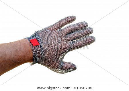 man hand with a butcher glove isolated on white background
