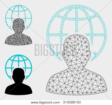 Mesh Global Governor Model With Triangle Mosaic Icon. Wire Carcass Triangular Mesh Of Global Governo