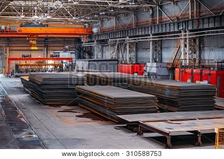 Stack Of Steel Sheets In Warehouse For Metalworking