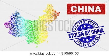 Factory China Map And Blue Stolen By China Distress Seal Stamp. Colorful Gradiented Vector China Map