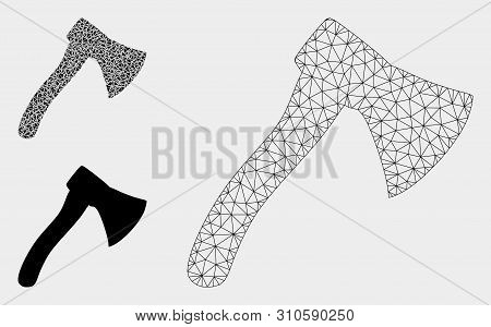 Mesh Hatchet Model With Triangle Mosaic Icon. Wire Frame Triangular Mesh Of Hatchet. Vector Mosaic O