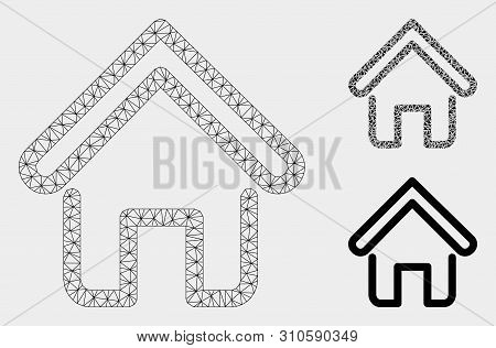 Mesh Home Model With Triangle Mosaic Icon. Wire Carcass Triangular Mesh Of Home. Vector Mosaic Of Tr