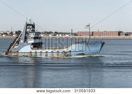 New Bedford, Massachusetts, Usa - July 9, 2019: Clammer Sea Watcher 1, Hailing Port Atlantic City, N