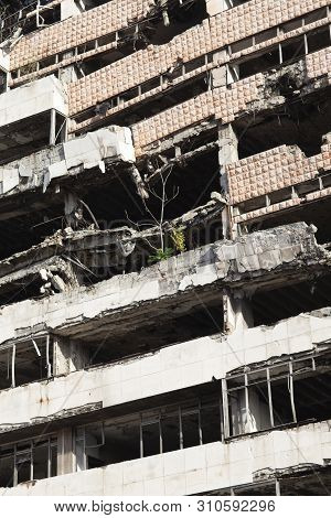 Belgrade, Serbia - October 12 2013: The Yugoslav Ministry Of Defence Building Bombed And Damaged In
