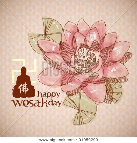 Vector Lotus Drawing for Wesak Day
