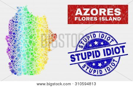 Production Flores Island Of Azores Map And Blue Stupid Idiot Textured Seal Stamp. Spectral Gradient