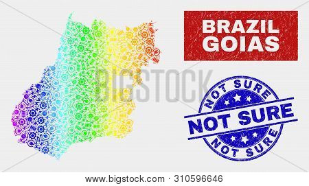 Tools Goias State Map And Blue Not Sure Textured Stamp. Rainbow Colored Gradiented Vector Goias Stat