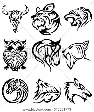 Set Of Tribal Animal Head Vector Icon Symbol For Element Design On The White Background. Collection
