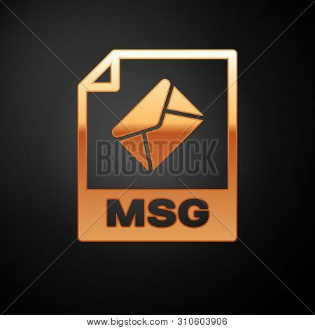 Gold Msg File Document Icon. Download Msg Button Icon Isolated On Black Background. Msg File Symbol.