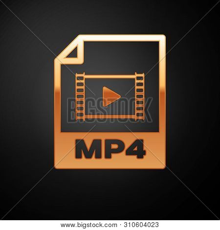 Gold Mp4 File Document Icon. Download Mp4 Button Icon Isolated On Black Background. Mp4 File Symbol.