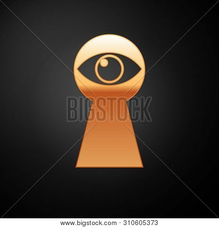 Gold Keyhole With Eye Icon Isolated On Black Background. The Eye Looks Into The Keyhole. Keyhole Eye