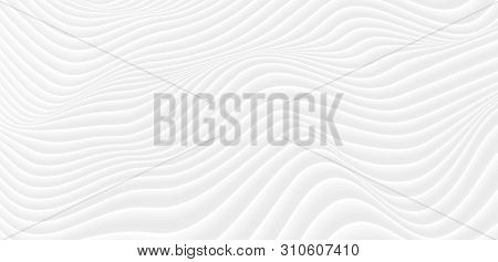 Grey Futuristic 3d Refracted Waves Abstract Background. Vector Design