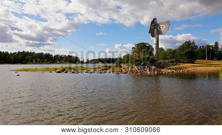 Kristinehamn, Sweden - July 5, 2019: The 15 M Tall Concrete Picasso Sculpture Landmark Was Inaugurat