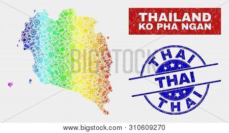 Assembly Ko Pha Ngan Map And Blue Thai Grunge Seal Stamp. Spectral Gradient Vector Ko Pha Ngan Map M