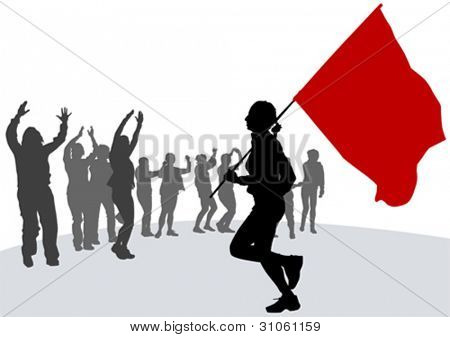 Vector drawing woman with revolution flag
