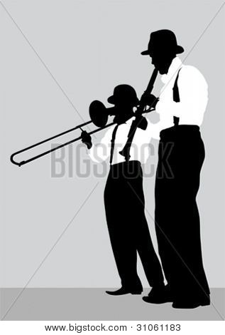 Vector drawing of a mans with trombone and clarinet on stage