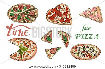 Collection Of Type Of Pizza. Hand Drawn Ink And Colored Sketch. Pepperoni, Margarita,  Mushroom.  Pe