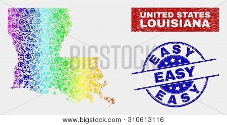 Assemble Louisiana State Map And Blue Easy Grunge Stamp. Spectrum Gradient Vector Louisiana State Ma