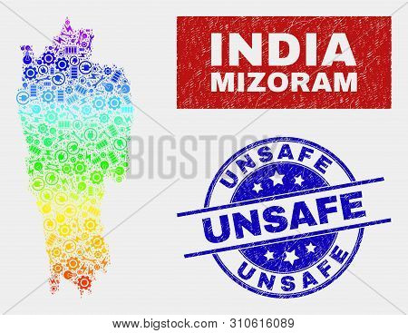 Element Mizoram State Map And Blue Unsafe Scratched Seal Stamp. Rainbow Colored Gradient Vector Mizo