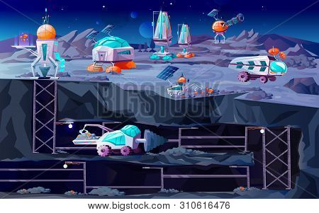 Space Planet Colonization Vector Cartoon Illustration. Futuristic Technology On Cross Section Landsc