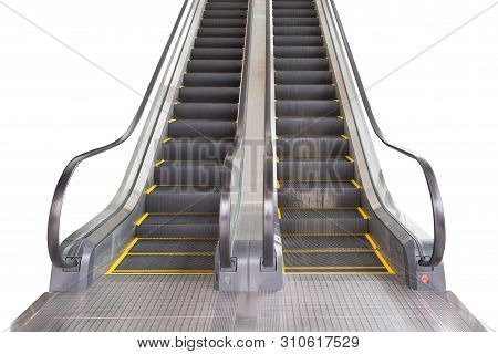 Escalator Isolated On White Background. Front View. Escalator In Subway Station. Moving Up Staircase