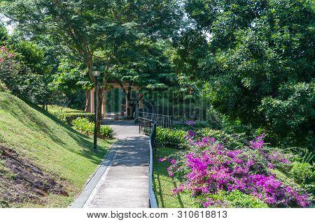 Path To Summerhouse, Pavilion In Tropical Park. Mount Faber Public Park, Singapore