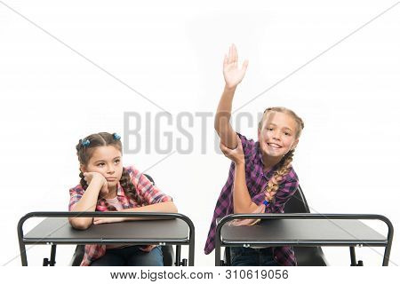 Enjoy Process Of Studying. Students Classmates Sit Desk. Back To School. Private School Concept. Ele