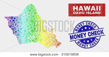Engineering Oahu Island Map And Blue Money Check Grunge Stamp. Spectrum Gradient Vector Oahu Island