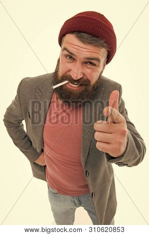 Hipster Brutal Bearded Tobacco Smoker. Brutal Unshaven Guy Smoking Isolated White Background. Man Br
