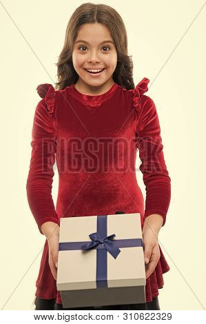 Girl Kid Hold Birthday Gift Box. Every Girl Dream About Such Surprise. Birthday Girl Carry Present W