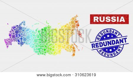 Construction Russia Map And Blue Redundant Distress Seal Stamp. Spectrum Gradiented Vector Russia Ma