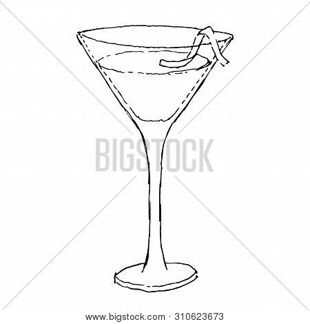Cosmopolitan Cocktail. Monochrome Sketch, Hand Drawing. Black Outline On White Background. Vector Il