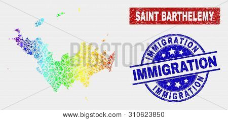 Assemble Saint Barthelemy Map And Blue Immigration Textured Seal. Colorful Gradient Vector Saint Bar