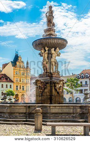 Ceske Budejovice,czech Republic - June 20,2019 - View At The Samson Fountain Of Main Square In Ceske