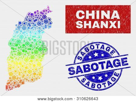 Assemble Shanxi Province Map And Blue Sabotage Grunge Stamp. Colorful Gradient Vector Shanxi Provinc