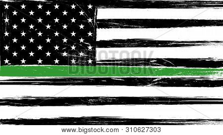 Grunge Usa Flag With A Thin Green Line - A Sign To Honor And Respect American Border Patrol, Park Ra