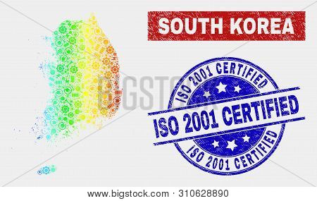 Engineering South Korea Map And Blue Iso 2001 Certified Scratched Seal Stamp. Spectrum Gradiented Ve