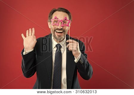 Perfect For Corporate Party. Handsome Mature Man Wear Fake Glasses Accessories. Funny Businessman In