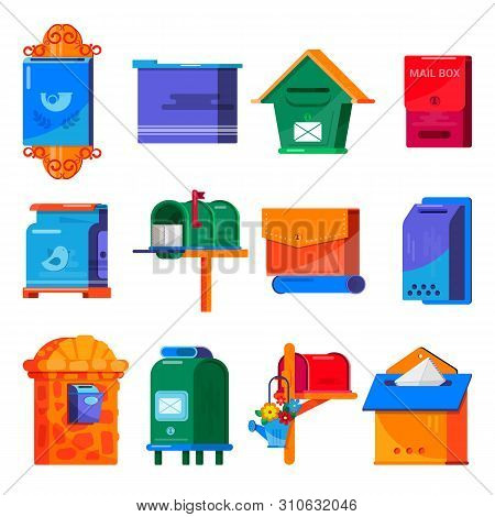 Mail Box Vector Post Mailbox Or Postal Mailing Letterbox Illustration Set Of Postboxes Mail-boxes Fo