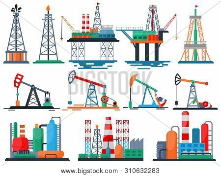 Oil Industry Vector Oily Products Oiled Technology Producing Drilling Fuel Pump Illustration Set Of