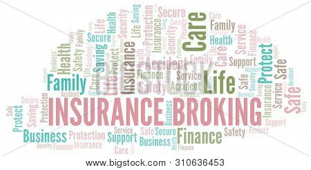 Insurance Broking word cloud vector made with text only poster