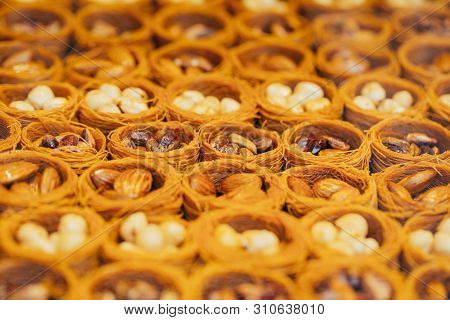 Tipical Turkish Baklava Pastries On Sale At The Market In Istanbul