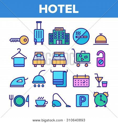 Hotel Accommodation, Room Amenities Vector Linear Icons Set. Hostel Services And Possibilities, All